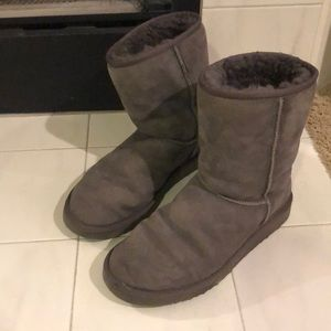 Classic Short Grey UGG Boots, Size 10